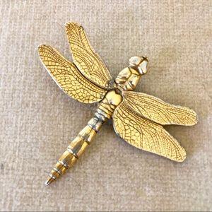 Vintage Danforth Pewter dragonfly gold tone pin